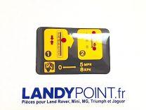 BTR8626 - Plaque Autocollant Instructions Boîte Vitesse Automatique - Range Rover Classic